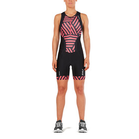 2XU Perform Combinaison avec avec zip frontal Femme, black/geo melon